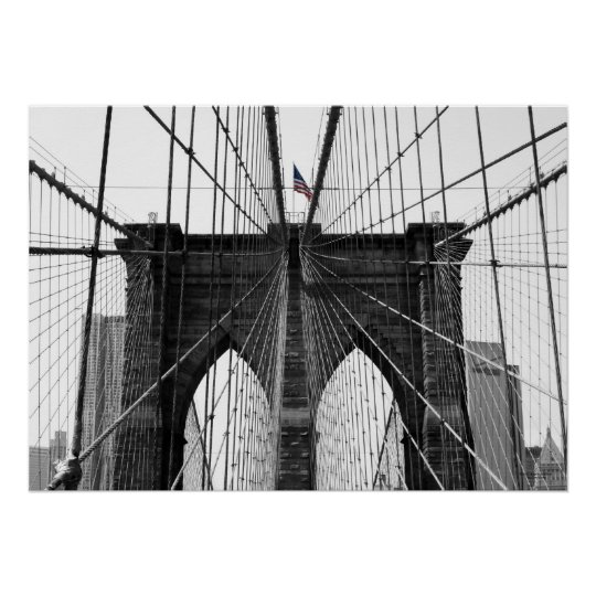Black and White Brooklyn Bridge w/Colour Flag Poster
