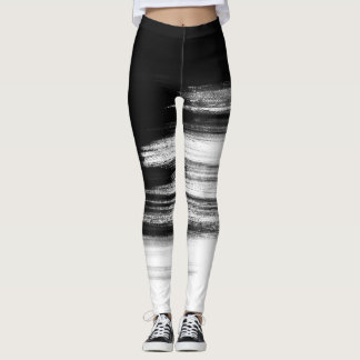 Black and White Brush Strokes Leggings