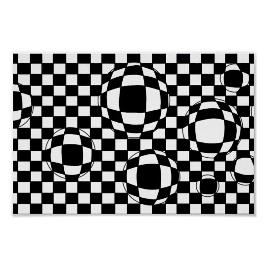 Black and White Bubbles Poster Print