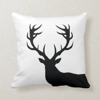 Black and White Buck Throw Pillow