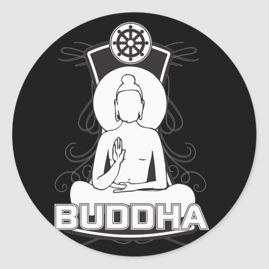 Black and White Buddha Classic Round Sticker
