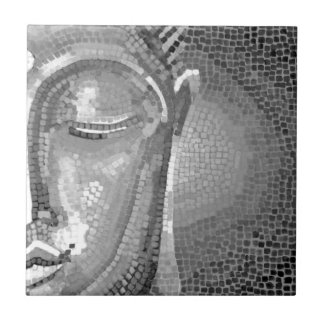Black and White Buddha Face Tile