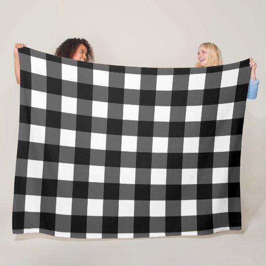 Black and White Buffalo Check Fleece Blanket