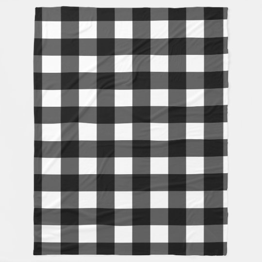 Black and White Buffalo Check Fleece Blanket