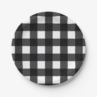 Black and White Buffalo Check, Plaid 7 Inch Paper Plate