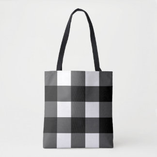 Black and White Buffalo Check Tote