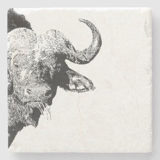 Black and white buffalo stone beverage coaster
