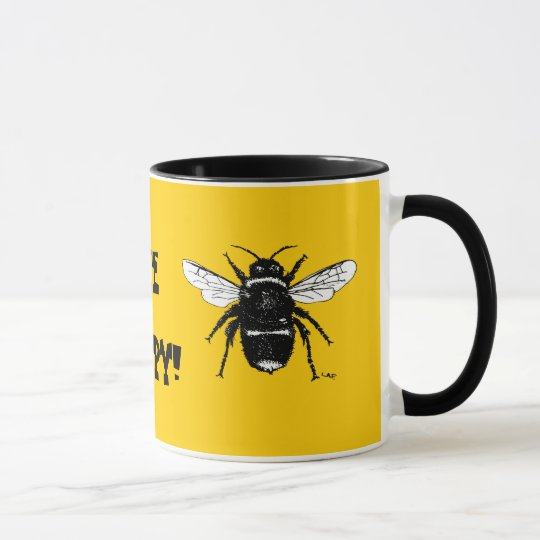 black and white bumble bee on all coffee mugs
