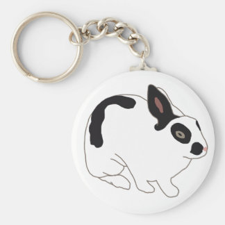 Black and White Bunny Rabbit Basic Round Button Key Ring