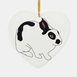 Black and White Bunny Rabbit Christmas Ornament