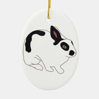 Black and White Bunny Rabbit Christmas Ornament
