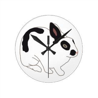 Black and White Bunny Rabbit Wallclock