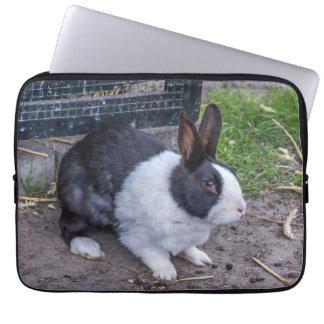 Black and white bunny rabbit laptop sleeve