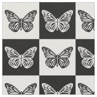Black and white butterflies fabric