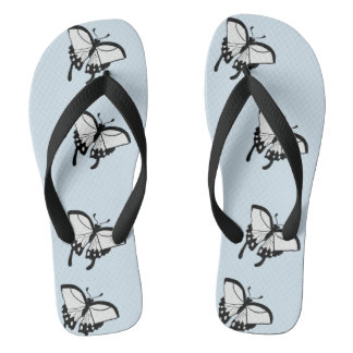 Black and White Butterflies Flip Flops