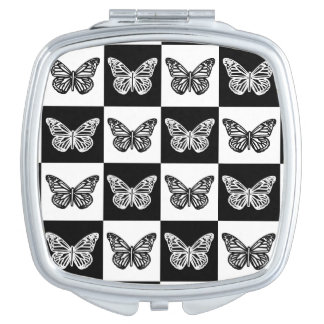 Black and white butterflies makeup mirror