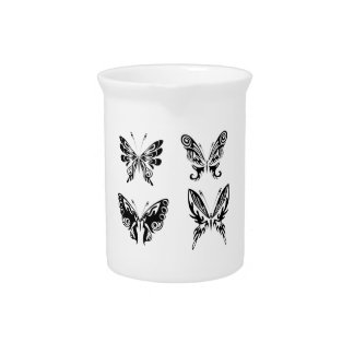 Black And White Butterflies Pitcher