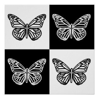 Black and white butterflies poster