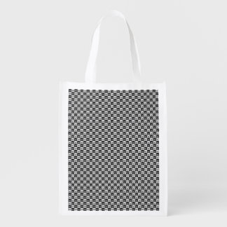 Black and white butterflies reusable grocery bag