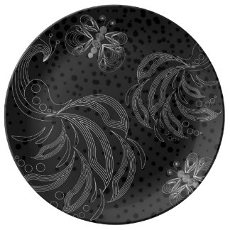 Black and white butterfly and peacocks halftones porcelain plate