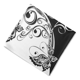 Black and White Butterfly Bandana