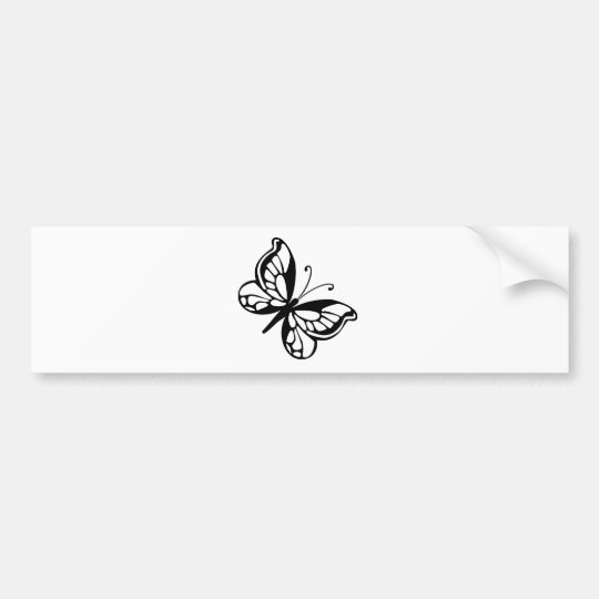 Black and White Butterfly Bumper Sticker