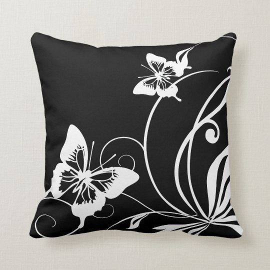 Black and White Butterfly Cushion