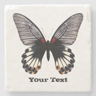 Black and White Butterfly Custom Stone Coaster