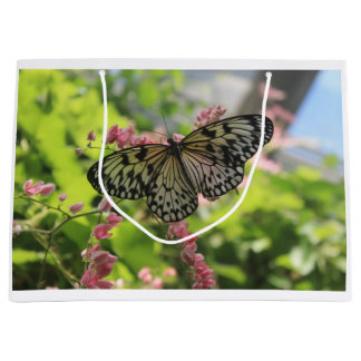 Black And White Butterfly Large Gift Bag