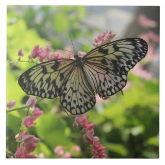 Black And White Butterfly Large Square Tile