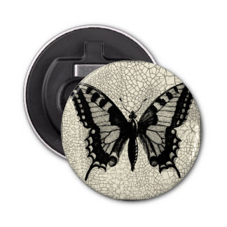Black and White Butterfly on Cracked Background Bottle Opener