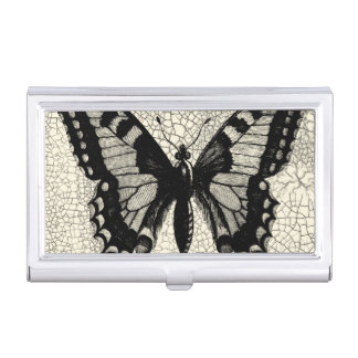 Black and White Butterfly on Cracked Background Business Card Holder