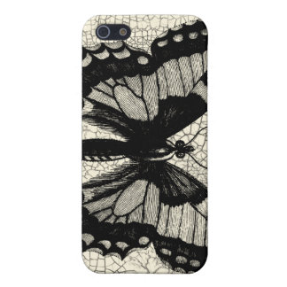 Black and White Butterfly on Cracked Background Case For The iPhone 5