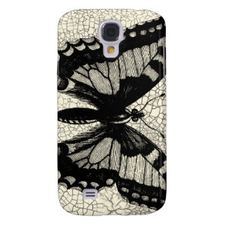 Black and White Butterfly on Cracked Background Galaxy S4 Case