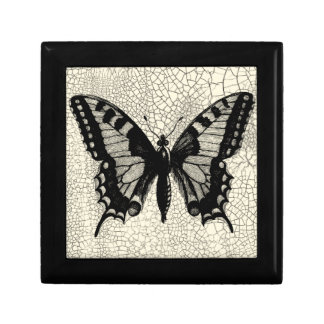 Black and White Butterfly on Cracked Background Jewelry Boxes