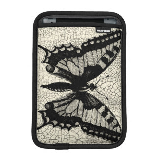 Black and White Butterfly on Cracked Background iPad Mini Sleeve