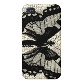 Black and White Butterfly on Cracked Background iPhone 4/4S Cases