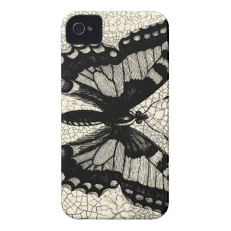 Black and White Butterfly on Cracked Background iPhone 4 Case-Mate Case