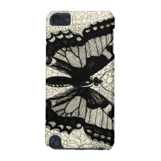 Black and White Butterfly on Cracked Background iPod Touch 5G Cases