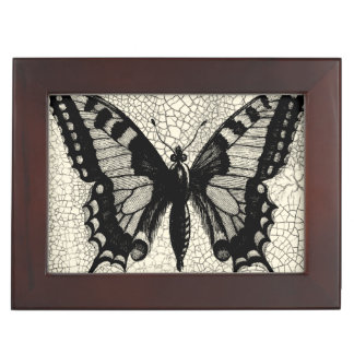 Black and White Butterfly on Cracked Background Keepsake Box