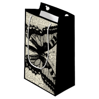 Black and White Butterfly on Cracked Background Small Gift Bag