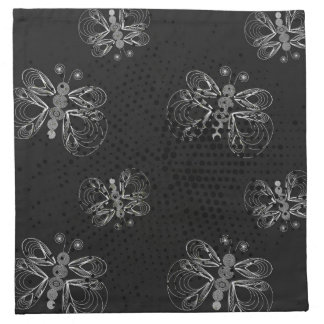 Black and white butterfly pattern with halftones napkin