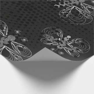 Black and white butterfly pattern with halftones wrapping paper