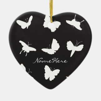 Black and White Butterfly Silhouettes Christmas Ornament