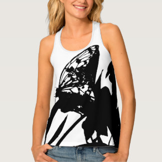 """black and white butterfly"" tank top"