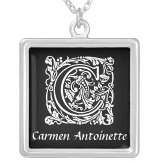 Black and White C Monogram Initial Personalized Silver Plated Necklace