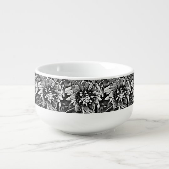 Black and White Cactus Flower Soup Mug