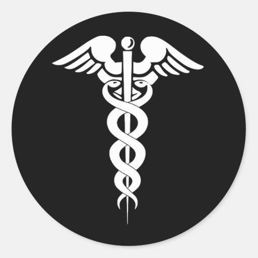 Black and White Caduceus Medical Symbol Sticker
