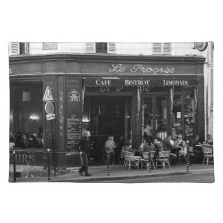 Black and White Cafe in Montmartre, Paris Placemats