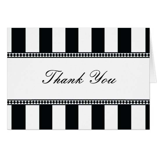 Black and White Cafe Stripes Thank You Note